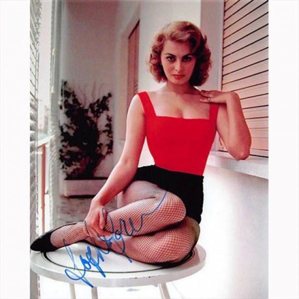 Autografo Sophia Loren Foto 20x25