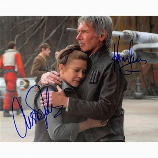 Auotgorafo Star Wars The Force Awakens Carrie Fisher - Harrison Ford - Foto 20x25