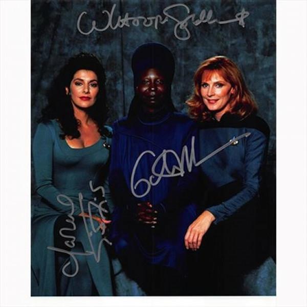 Autografo Star Trek TNG 3 del Cast Foto 20x25