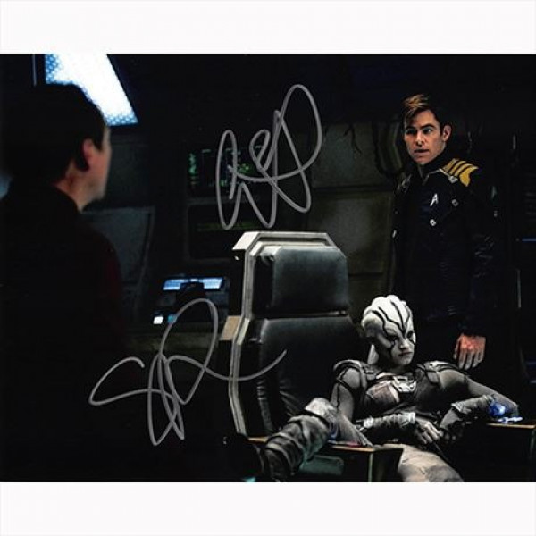 Autografo Chris Pine & Sofia Boutella Foto 20x25