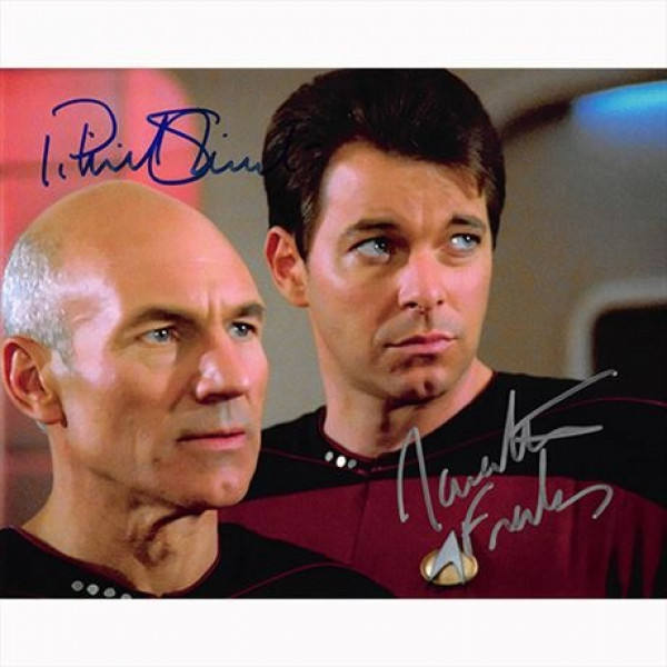 Autografo Patrick Stewart & Jonathan Frakes - Star Trek Foto 20x25