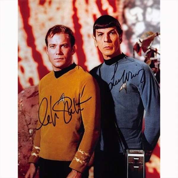 Autografo William Shatner - Leonard Nimoy - Star Trek 3 Foto 20x25