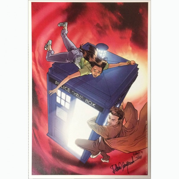 """Litografia """"Doctor Who: The Tenth Doctor Cover #2 SEptember 2014"""" autografata da Elena Casagrande."""