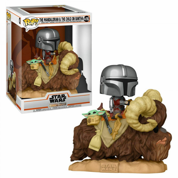 Funko POP!Star Wars The Mandalorian Mando on Bantha with Child #416