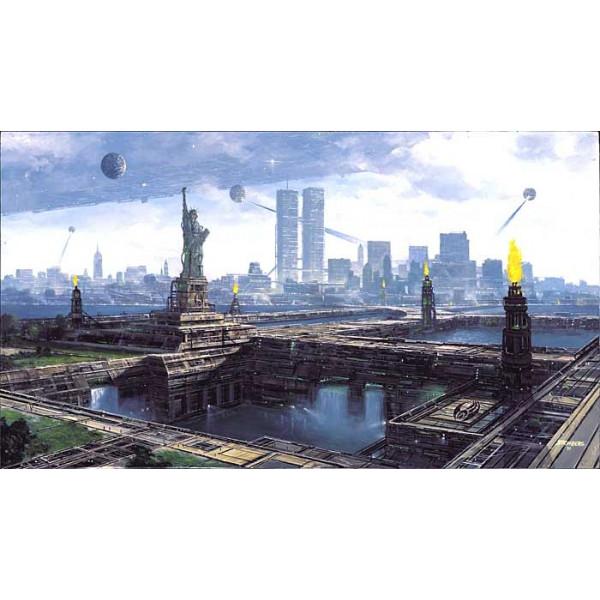 "Litografia ""New Borg City"" 100 x 66 cm"""