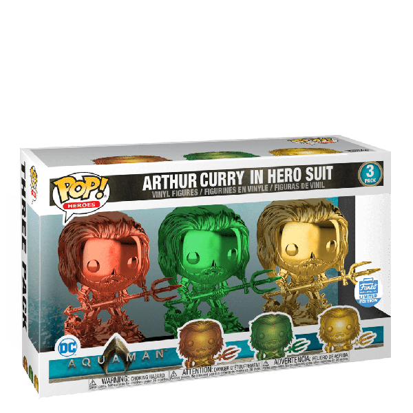 FUNKO POP! - ARTHUR CURRY - AQUAMAN 3 PACK IN HERO SUIT SPECIAL EDITION - GLOSSY