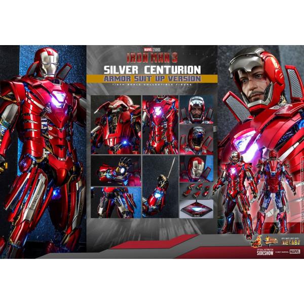 PREORDINE Iron Man 3 Movie Masterpiece Action Figure 1/6 Silver Centurion (Armor Suit Up Version) 32 cm
