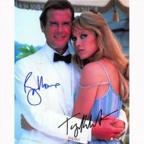 Autografo Roger Moore & Tanya Roberts - James Bond Foto 20x25
