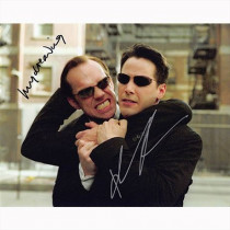 Autografo Keanu Keanu Reeves & Hugo Weaving - The Matrix Foto 20x25