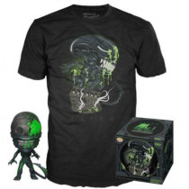 FUNKO POP! Alien Xenomorph Blood Splatter 40th Anniversary Figure + T-Shirt