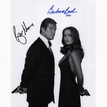 Autografo Roger Moore & Barbara Bach - James Bond Foto 20x25