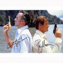 Autografo Roger Moore & Christopher Lee - James Bond Foto 20x25