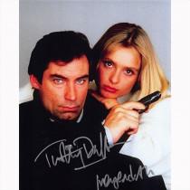 Autografo Timothy Dalton & Maryam d'Abo - James Bond Foto 20x25