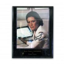 Autografo Majel Barrett Roddenberry Foto 20x25 con Placca