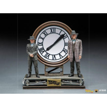 PREORDINE Back to the Future III Deluxe Art Scale Statue 1/10 Marty and Doc at the Clock 30 cm