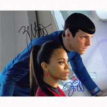 Autografo Zachary Quinto & Zoe Saldana - Star Trek Foto 20x25