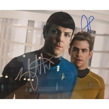 Autografo Zachary Quinto & Chris Pine Star Trek Foto 20x25
