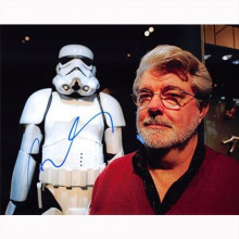 Autografo George Lucas - Star Wars 2 Foto 20x25
