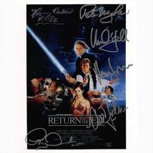 Autografo Star Wars - 6 del Cast Locandina - Foto 20x25: