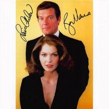 Autografo Roger Moore & Lois Chiles - James Bond Foto 20x25