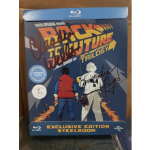 Autografo Cristopher Lloyd & Claudia Wells Blu ray trilogy Back to the future exclusive edition Steelbook
