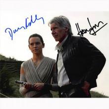 Autografo Harrison Ford & Daisy Ridley - Star Wars Foto 20x25