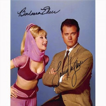 Autografo Larry Hagman & Barbara Eden - I Dream of Jeannie Foto 20x25