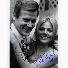 Autografo Roger Moore e Britt Ekland -2- James Bond Foto 20x25