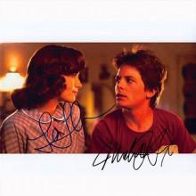 Autografo Michael J. Fox e Lea Thompson -2- Ritorno al futuro Foto 20x25: