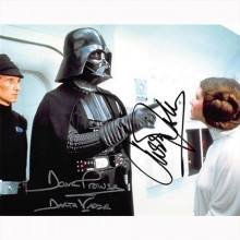 Autografo Star Wars Carrie Fisher & David Prowse -Foto 20x25