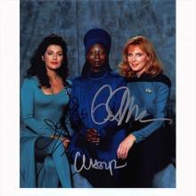 Autografo Star Trek The Next Generation Cast 3 Attrici Foto 20x25