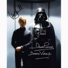 Autografo Mark Hamill & David Prowse - Star Wars 3 Foto 20x25: