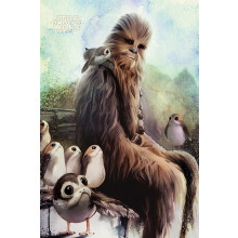 Poster Star Wars: The Last Jedi (Chewbacca & Porgs)