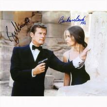 Autografo Roger Moore e Barbara Bach - 007 James Bond Foto 20x25