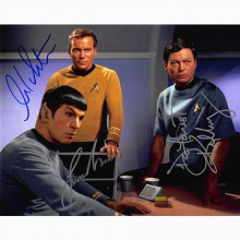 Autografo Star Trek Serie Classica Cast dai 3 Foto 20x25
