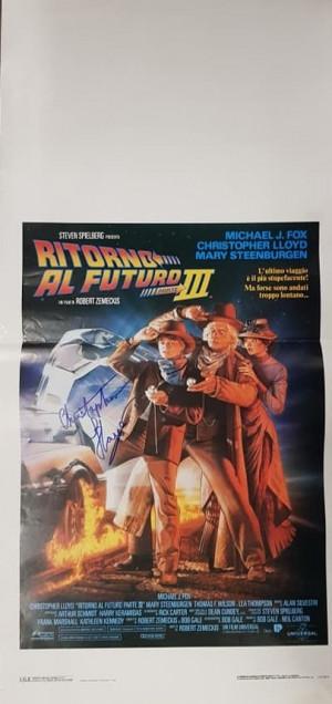 Autografo Christopher Lloyd Locandina 33x70 Ritorno al futuro III