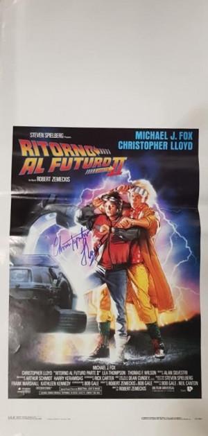 Autografo Christopher Lloyd Locandina 33x70 Ritorno al futuro II