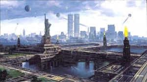 """Litografia """"New Borg City"""" Miniprint 51 x 28 cm"""""""
